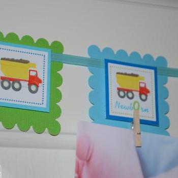 First Year Photo Clips, First Year Banner, Dump Truck Construction Theme, Green, Light Blue and Dark blue color.